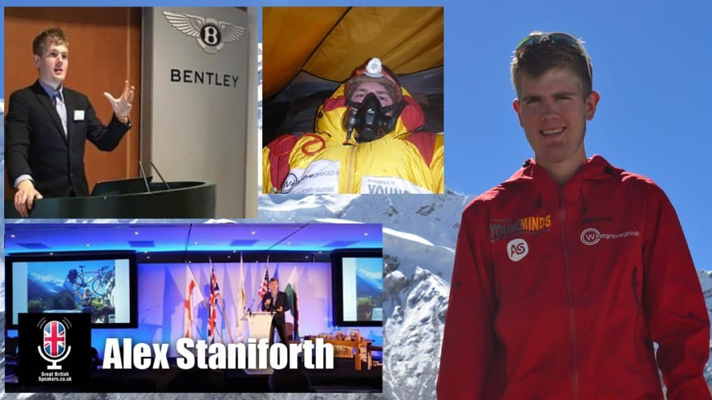Alex Staniforth young Everest climbing resilience mental health motivational speaker at Great British Speakers