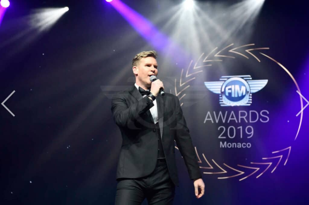 Craig Stevens Book Host Compere Emcee SKY Movies at Great British Speakers Fim Awards Monaco