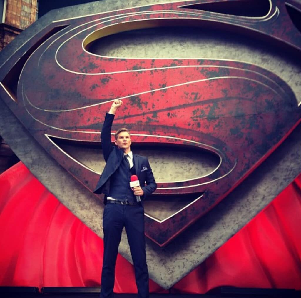 Craig Stevens Book Host Compere Emcee SKY Movies at Great British Speakers Superman premiere