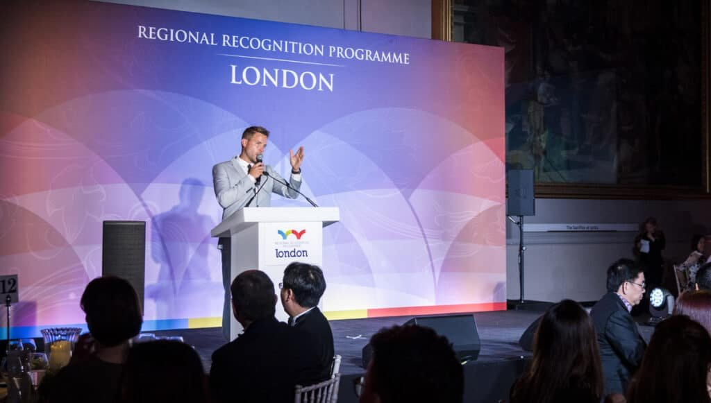 Dave Payne live host at Great British Presenters London