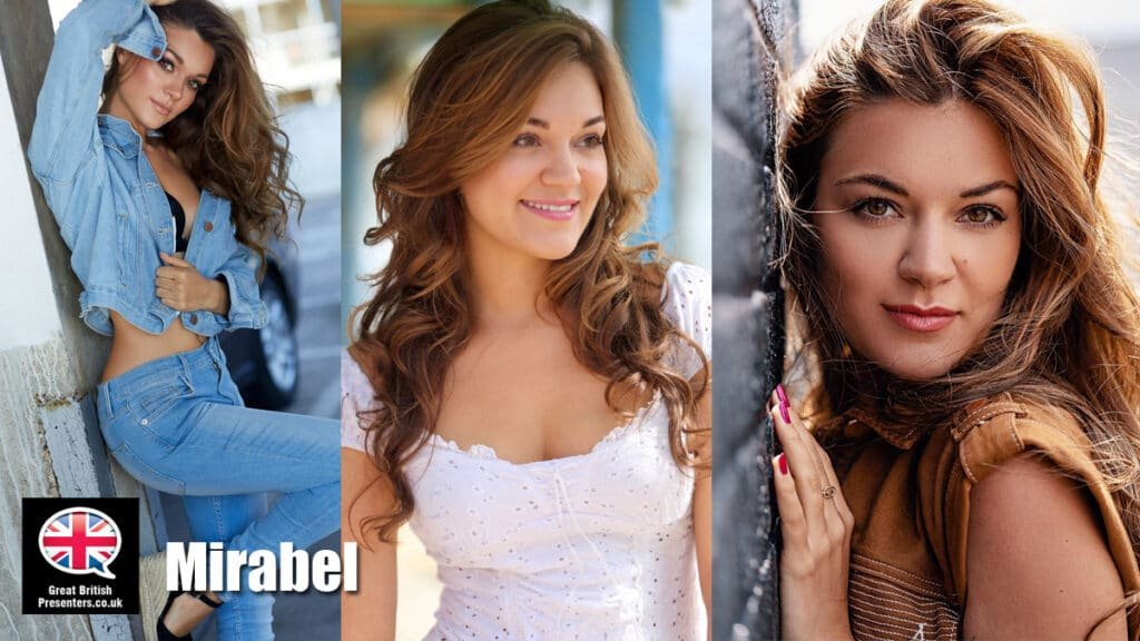 Mirabel Stuart young English female model presenter London French Spanish Voice Over Actor at Great British Presenters