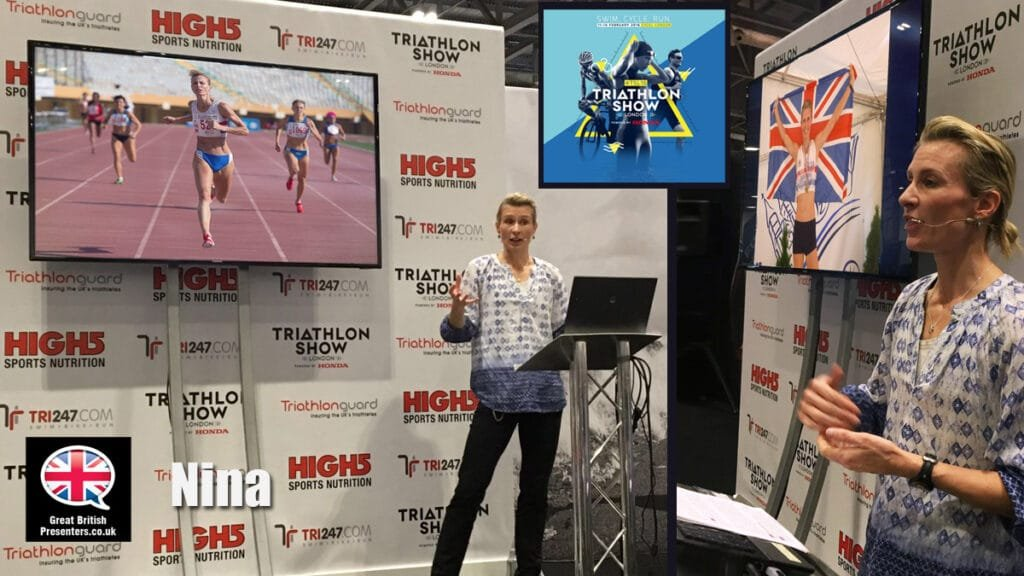 Nina Anderson middle age fitness guru at the Triathlon Show book at Great British Presenters