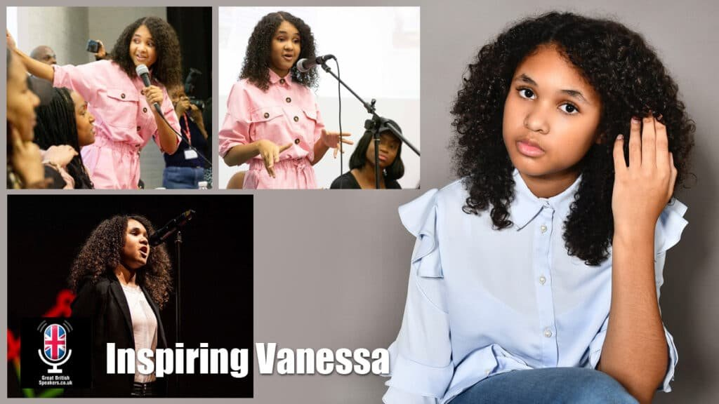 Inspiring Vanessa motivational young speaker TV presenter at Great British Speakers