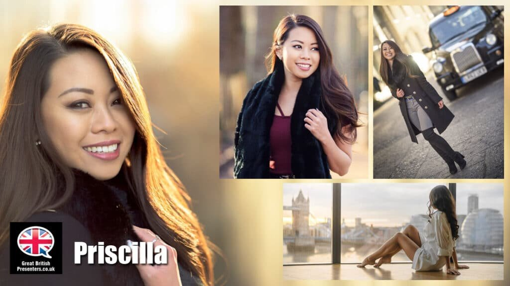 Priscilla Fung English Chinese Cantonese model presenterTV commercial actor book at agent Great British Presenters