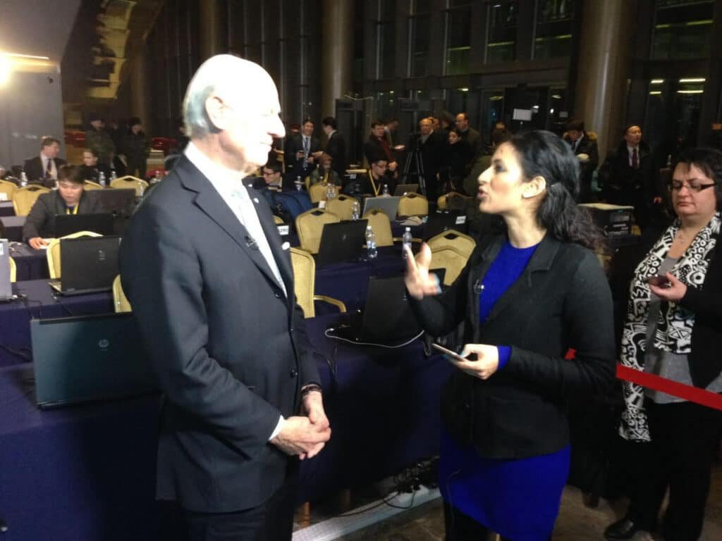 Nadira Tudor interview with Staffan di Mistura at Great British Presenters